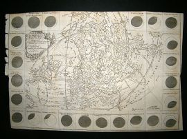 Astronomy: 1748 Antique Map. Great Solar Eclipse of July 14. Smith